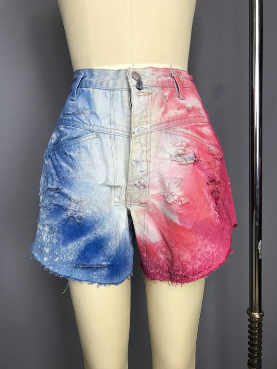 Color Burst Patriotic Denim Cut Offs