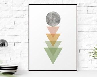 Moon print, moon poster, moon art print, Triangle Print, Geometric Art print, Minimalist print 5x7-24x36