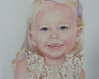 Custom Watercolor  Portrait From Your Photographs size 11x14
