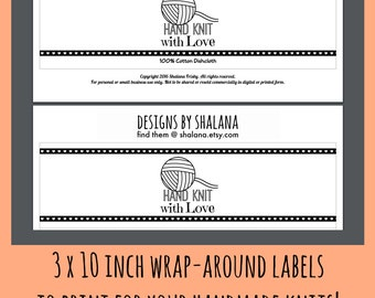 Printable PDF for Knitted Dishcloth Label Wrappers - Hand Knit with Love Wrap Around Tag for Handmade Wash Cloths or Knitted Crafts