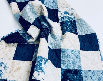 Patchwork Quilt- in Blue and Beige