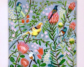 Dreams of birds and flowers Big Original Painting