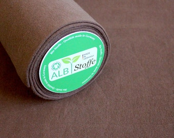 Brown smooth ribbing organic cotton kba made in Germany Albstoffe
