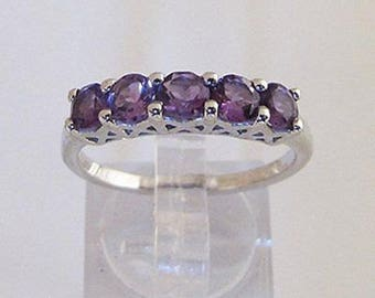 Ring in Sterling Silver and 5 amethysts size 54