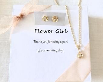 Gold flower girl necklace, little girls necklace, flower girl necklace, flower girl gift jewelry set