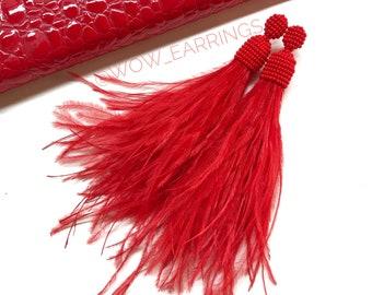 Red feather earrings, Real feather jewelry, Long feather earrings, Long red earrings, Feather dangle earrings, Long earrings