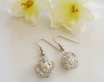 Silver Yarn Ball Earrings, Freshwater pearl wrapped in Silver Wire, Knitters Jewelry, Knitter Gift