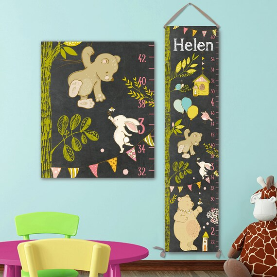 Cute Chalkboard Canvas Growth Chart - Personalized - Height Chart Ruler, Unisex Growth Chart - GC4005C