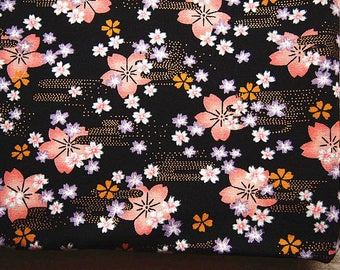 Japanese fabric Golden black floral traditional 110 * 50 cm