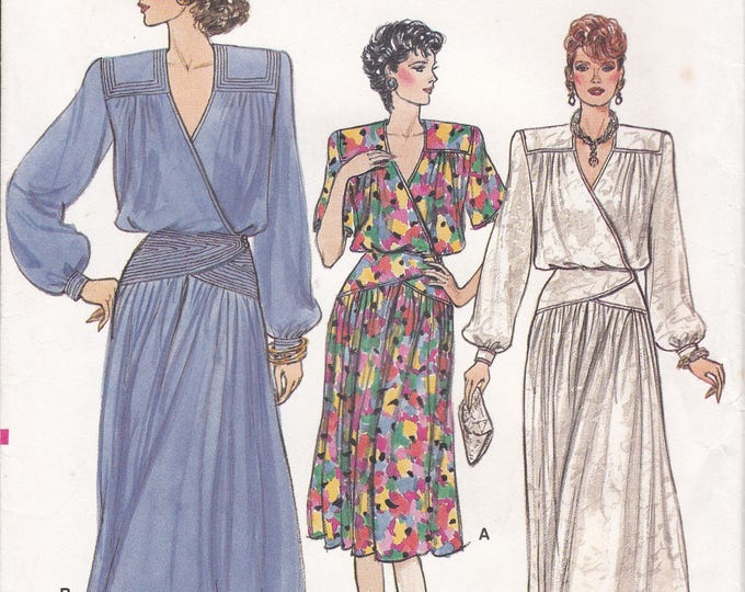 Free Us Ship Sewing Pattern Vogue 9517 Vintage Retro 1980s 80s Dress Evening Length Size 8, 10 Bust 31.5 32.5 Factory Folded