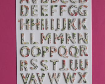 Board of 56 embossed on foam alphabet letters stickers
