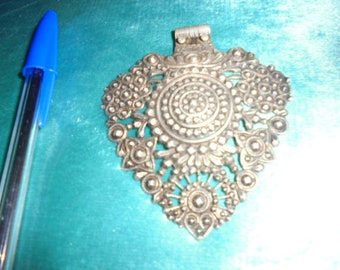 Tunisian Jewelry, old finely made intricate silver pendant, delicate, rare
