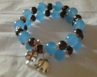 Semi-precious beads on memory Wire Bracelet