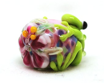 made to order Margo lampwork beads flowery frog