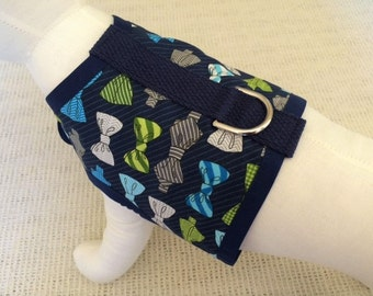 Navy Bow Tie Dog Harness Vest