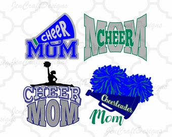 Cheer Mom, Cheerleader, Mom Cut file for Cricut, Silhouette, SCAL, SVG, EPS, Dxf, Studio3, Png Vector, Digital Instant download