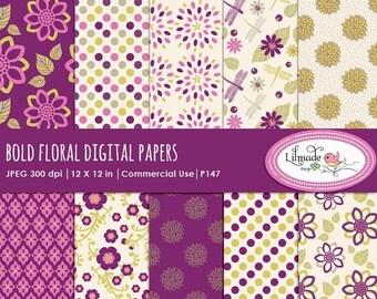 50%OFF Digital paper, floral digital paper, purple digital papers, scrapbook papers, patterned papers, digital scrapbooking, P147