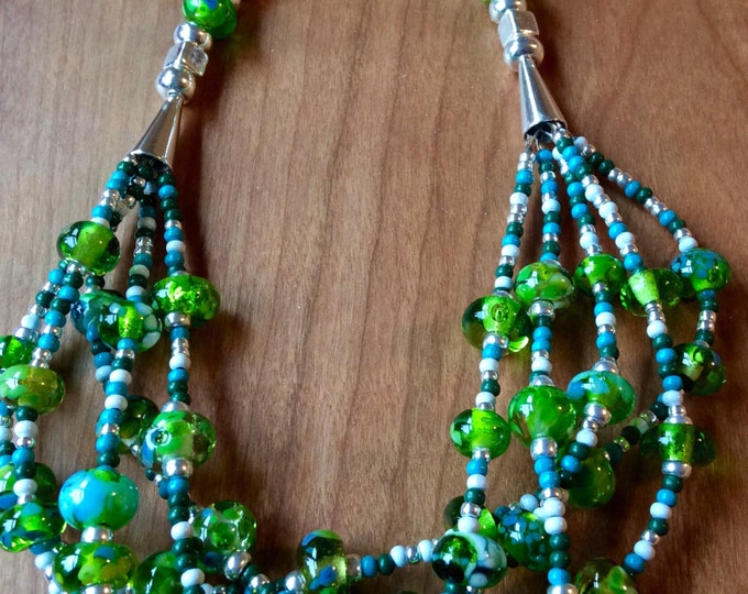 Summer Green Artisan Made Flame Work Necklace