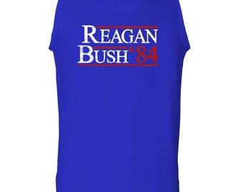 RONALD REAGAN george BUSH 1984 election t-shirt tanktop sleeveless darks