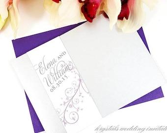 The Elena Suite - Damask Monogram Pocketfold Wedding Invitation Suite - SAMPLE
