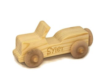 Wooden Toy Car Jeep, Handmade Wood Car for Kids, Personalized Toy Car, Baby Shower Gift, Birthday, Nursery Decor