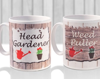 Gardener mug set, Head Gardener and weed puller novel design for gardening enthusiasts