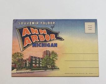 Vintage University of Michigan 1950s Postcard Souvenir Folder Of Ann Arbor