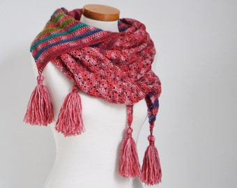 Crochet shawl, red with rainbow colors, stripes, P522