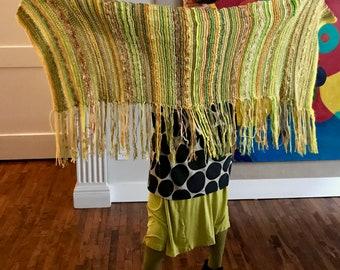 Beautiful Large Hand Knit All Season Wrap Shawl/Throw - Yellow Mustard Green Gold