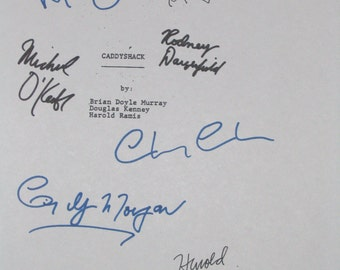 Caddyshack Signed Film Script Screenplay X7 Chevy Chase Harold Ramis Rodney Dangerfield Bill Murray Ted Knight Cindy Morgan Michael O'Keefe
