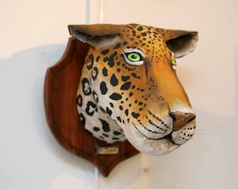 UNIQUE piece available - Trophy decorative handmade Jaguar head.