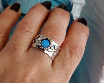 Opal ring, Blue opal ring, Silver Branch ring, Wide opal ring, Opal Jewelry, Silver band ring, Sterling opal ring, Stone ring, Gift for her