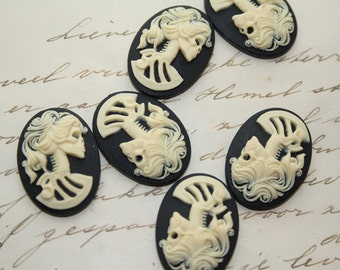 Skeleton lady cameo cabs. Skull day of the dead lolita 25x18mm - 6 PIECES