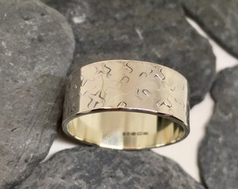 Mens wide silver ring, Mens wide band ring, Mens Hammered silver ring, Wide silver band, Sterling band ring, Large silver ring