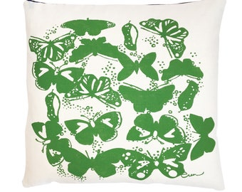 Butterflies pillow on new heavy weight Oyster linen, 5 colors hand printed by Erin Flett, 5 colors available