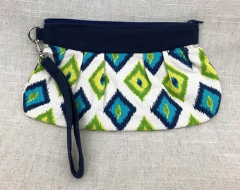 Canvas Clutch | Green and Blue Ikat Print | Wristlet Purse | Mini Purse | Chevron Clutch | Ikat Clutch | Ready to Ship