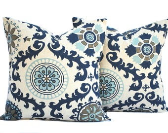 2 high quality pillow covers, , cushion, decorative throw pillow, Medallion pillow, accent pillow, pillow case, Navy Pillow