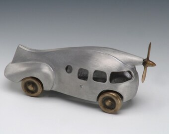 Aero Car, Aluminum and Bronze Retro Style with Wheels and Propeller