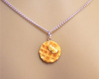 Food Jewelry Waffle Necklace, Waffle Pendant, Miniature Food Jewelry, Mini Food Jewellery, Polymer clay, Heart Necklace, Kawaii Necklace