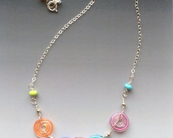 Peppermint Pendant in Multicolor: handmade glass lampwork beads with sterling silver components