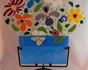 Wild Flowers fused glass display piece with stand and tea light
