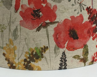 Lampshade wildflowers poppies fabric, handmade ceiling/table, large 40cm or 30cm or 20cm