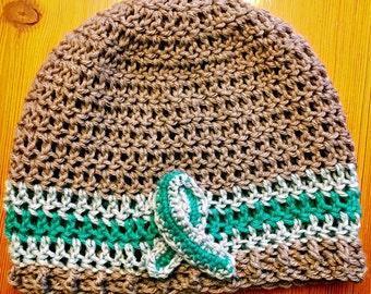 CUSTOM Crochet Beanie with Awareness Ribbon  - Handmade Gifts - Made to Order