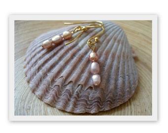 Dainty Pink Pearl Earrings Simple Petite Gold Earrings Handmade Jewelry Petite Wedding Jewelry Bridal San Diego California USA by Kila Rohne