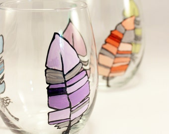 Hand painted stemless wine glasses with colorful feathers, feather wine glasses, set of 2