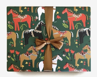 Dala Pony Gift Wrap in Pine / Single Sheet or Roll / Whimsical Pretty Horses Wrapping Paper Floral Green Holiday Woodland Modern Christmas