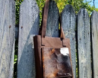Full Leather Tote Bag With Pockets