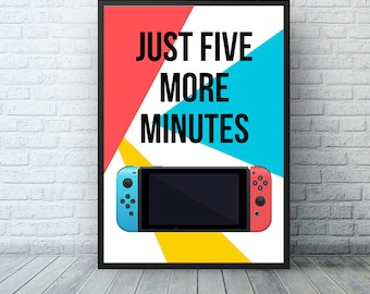 Nintendo Switch Video Game Controller Poster, Retro Video Gaming Man Cave Housewarming Art Print, Zelda Mario Kart Arms Handheld Console Art