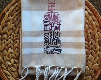 Red Red Wine - FOUTA - Kay Dee - Cotton 20x30 Kitchen Hand Towel