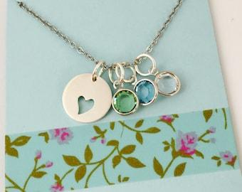 Grandma Necklace, Sterling Silver Grandma Necklace, Mom Birthstone Necklace, Personalized Sterling Silver Necklace, Mom Necklace